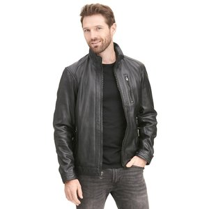 Designer Brand Convertible Collar Zip Front Leather Jacket