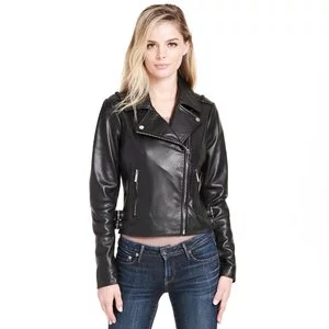 Web Buster Asymmetrical Leather Jacket w/ Side Belts