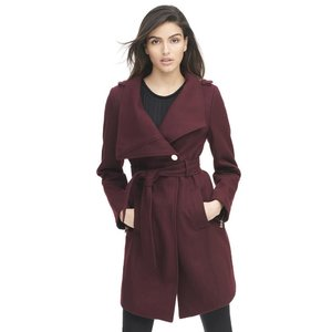 Designer Brand Asymmetrical Belted Wool-Blend Walker Coat