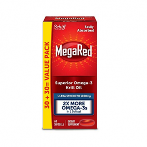 MegaRed 1000mg Ultra Strength Omega-3 Krill Oil - No fishy aftertaste as with Fish Oil, 60 softgel