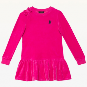 TRACK SOLID VELOUR LS BOW DRESS