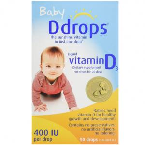 Ddrops 哺乳期婴儿维生素D3滴剂 400IU 90滴 @Amazon