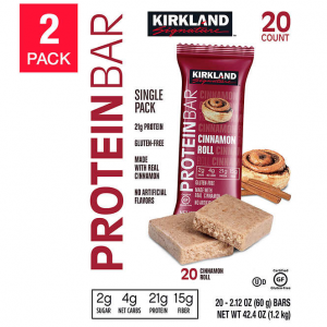 $15 off Kirkland Signature Protein Bars, Cinnamon Roll, 20-count, 2-pack @ Costco
