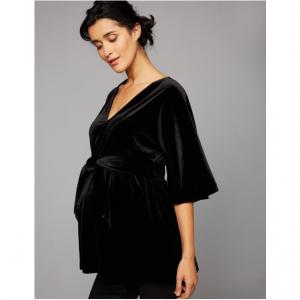 Babydoll Wide Sleeve Velvet Maternity Top