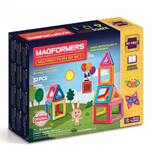 Magformers My First Play Set (32 Piece) Magnetic Building Blocks, Educational Magnetic Tiles Kit ,