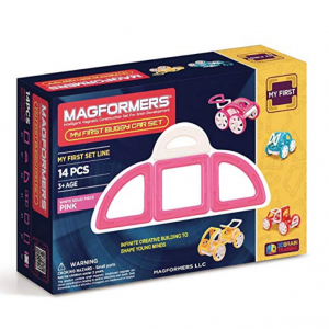 Magformers My First Buggy Car Pink (14-Pieces) Set Magnetic Building Blocks, Educational Magnetic