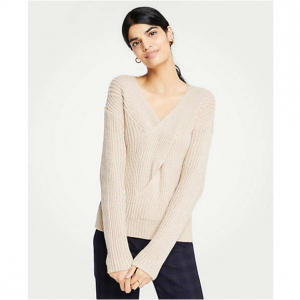 V-Neck Ribbed Cable Sweater