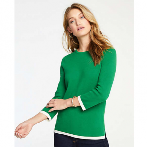 Tipped 3/4 Sleeve Sweater