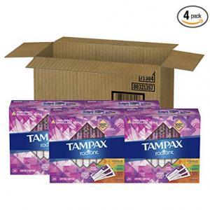 Tampax Radiant Plastic Tampons, 16 Regular/8 Super/8 Super Plus Absorbency Multipack, Unscented