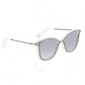 MARC JACOBS Gray Mirror Shaded Silver Cat Eye Sunglasses