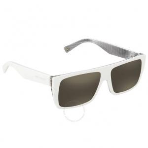 MARC JACOBS Marc Icon Gray, Ivory Mirror Rectangular Sunglasses