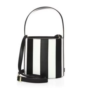 Staud Bissett Striped Leather Bucket Bag