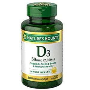 Nature's Bounty Vitamin D3 Pills and Supplement, Supports Bone Health and Immune System, 2000iu