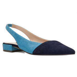Forlove Pointy Toe Slingback Flats - Sea Blue/ French Navy Suede