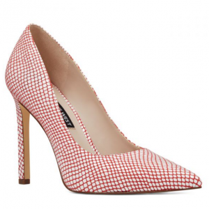 Tatiana Pointy Toe Pumps - Fiery Red And White Synthetic