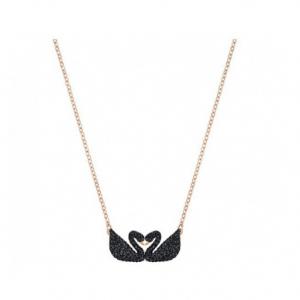 Swarovski Iconic Swan Double Necklace - Rose Gold/Black