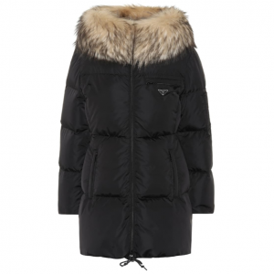 PRADA Fur-trimmed quilted down jacket