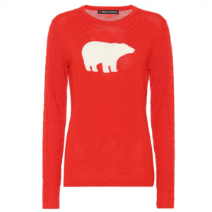 PERFECT MOMENT Bear crewneck wool ski sweater