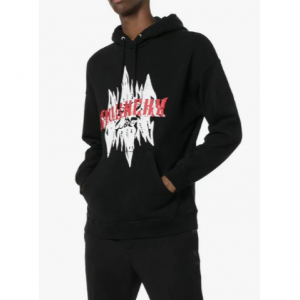 GIVENCHY graphic print hooded cotton jumper