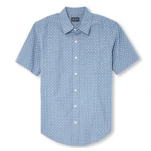 Mens Dad And Me Short Sleeve Dot Print Matching Poplin Button Down Shirt