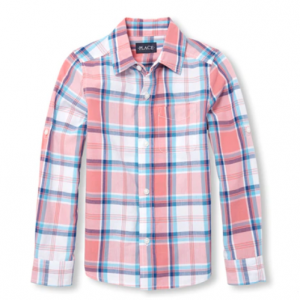 Boys Dad And Me Long Roll Up Sleeve Plaid Matching Poplin Button Down Shirt