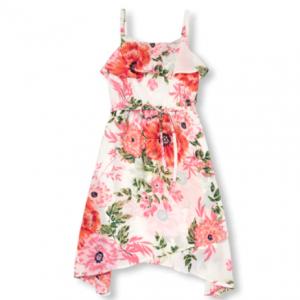 Girls Mommy And Me Sleeveless Floral Print Woven Sharkbite Hem Matching Dress