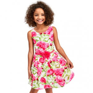 Girls Mommy And Me Sleeveless Floral Print Woven Matching Dress