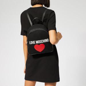 LOVE MOSCHINO WOMEN'S CANVAS HEART LOGO BACKPACK