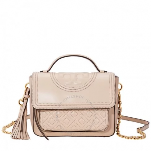 TORY BURCH Fleming Fleming Quilted Leather Satchel- Light Taupe