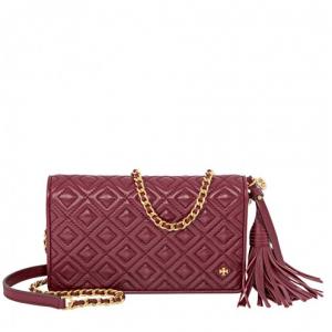 TORY BURCH Fleming Flat Wallet Crossbody Bag- Imperial Garnet