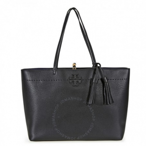 TORY BURCH McGraw Leather Tote - Black / Royal Navy