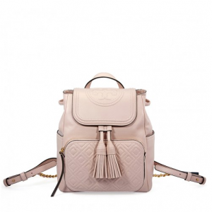 TORY BURCH Fleming Leather Backpack- Shell Pink