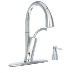 Glacier Bay Heston Single-Handle Pull-Down Sprayer Kitchen Faucet with Soap Dispenser in Chrome