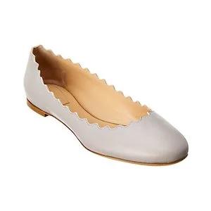Chloe Lauren Scalloped Leather Ballerina Flat