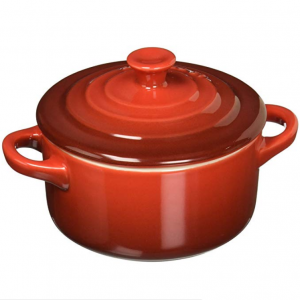 $19.95 for Le Creuset Stoneware Petite Round Casserole, 8-Ounce, Cerise (Cherry Red) @ Amazon