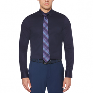 Very Slim Fit Non-Iron Solid Navy Dress Shirt