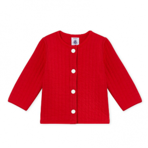 Petit Bateau Baby Girl's Cardigan In Quilted Tube Knit