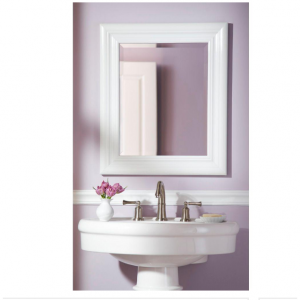 Placid 26-1/2 in. x 23-1/2 in. High Gloss White Framed Wall Mirror