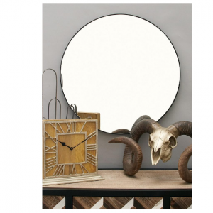 Litton Lane 24 in. Modern Circular Black Wall Mirror