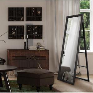 Pinnacle Classic Full Length Ladder with Easel Rectangular Black Floor Mirror