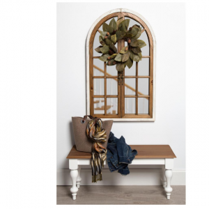Kate and Laurel Boldmere Wood Windowpane Arch Mirror White