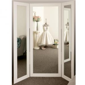 BrandtWorks Full Body White Trifold Dressing Mirror