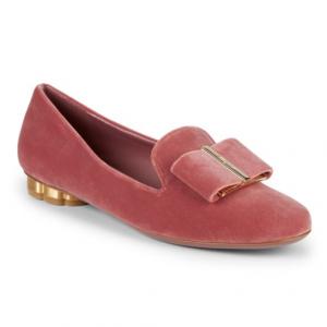Salvatore Ferragamo Velvet Flower Heel Loafers