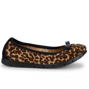 Salvatore Ferragamo Leopard-Print Leather & Calf Hair Ballet Flats