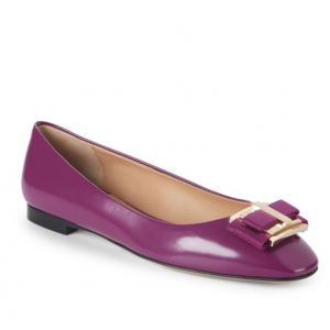 Salvatore Ferragamo Bow Almond Toe Leather Ballet Flats