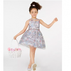 Rare Editions Little Girls Embroidered Illusion Dress
