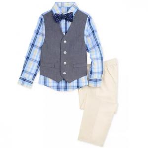 Nautica Little Boys 4-Pc. Oxford Shirt, Denim Vest, Pants & Bowtie Set