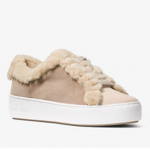 MICHAEL MICHAEL KORS Poppy Suede and Shearling Sneaker