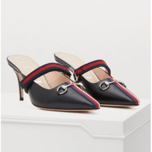 Gucci Webbed leather mule