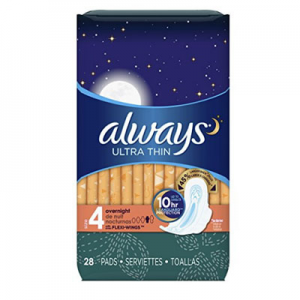 $10.64 Always Ultra Thin Size 4, Overnight Feminine Pads with Wings, Unscented, 28 count - 3 Packs